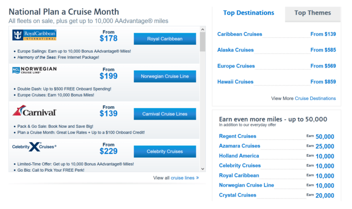 book cruises and earn miles and points aadvantage