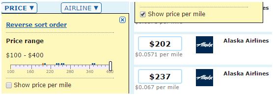 Filtering Price