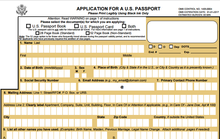 Usa Passport Application Form Dolapgnetband