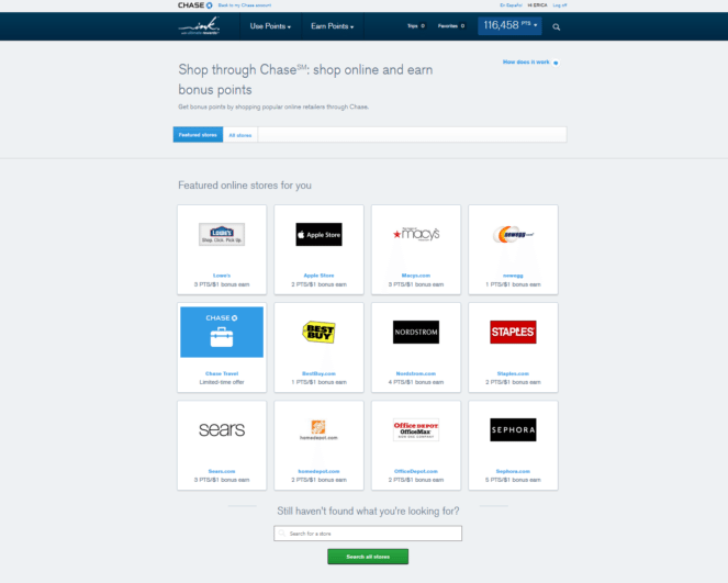 The Chase Online Shopping Portal - Shop through Chase