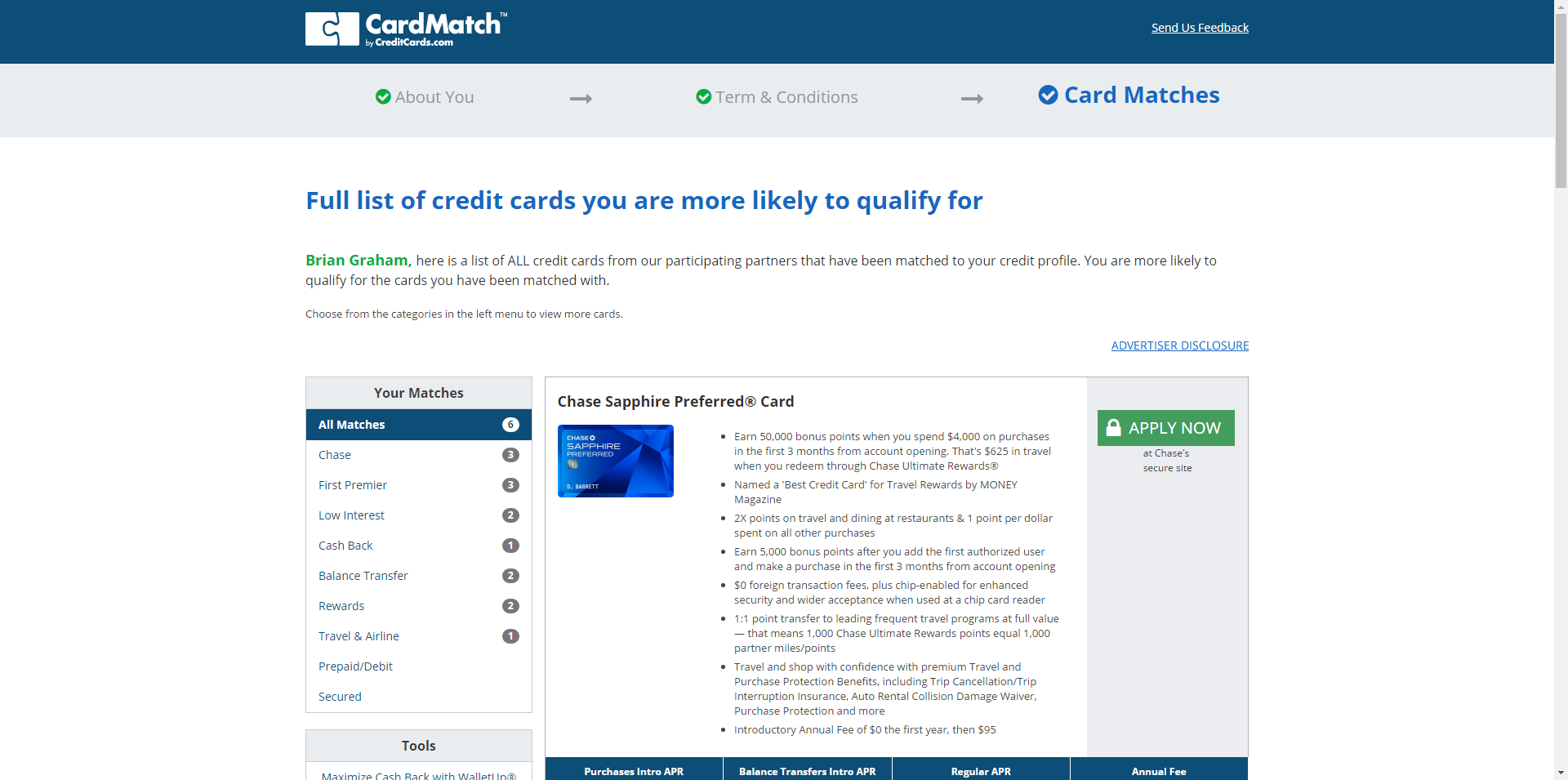 Credit card match com
