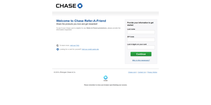 The main Chase Refer a Friend page.