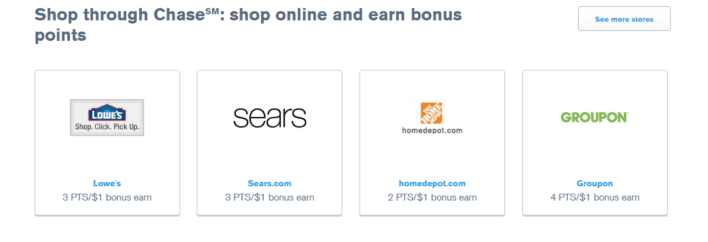 Options for shopping to earn points.