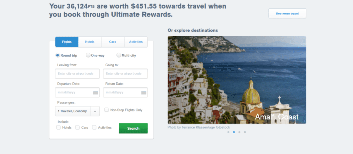 You can use the Chase travel portal to book flights, cars, hotels, and activities.