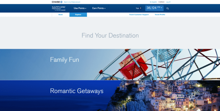 "If you are unsure what you want to book, you can use the ""Explore"" option to find ideas from Chase."