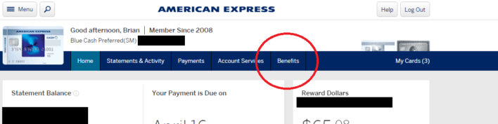 Amex Benefits Portal Navigation
