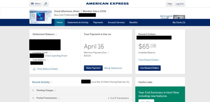 Amex Cash Back Card Homescreen