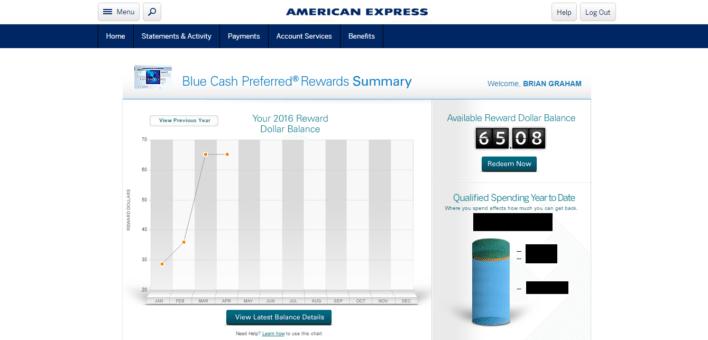 Amex Cash Back Summary