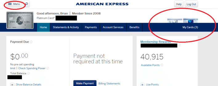 Switch Between Cards American Express