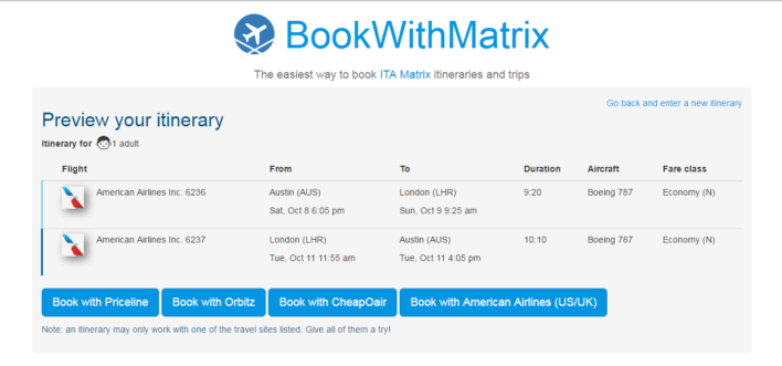 Book With Matrix Booking Screen