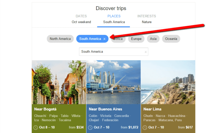 Google Flights Discover Destinations Using Places