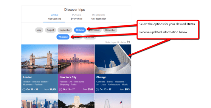 Google Flights Discover Destinations Weekend Trip Any Month