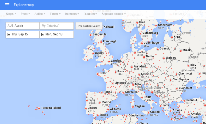 Google Flights Explore Destinations Map Europe