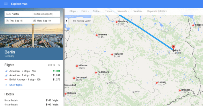 Google Flights Explore Destinations Map Select a City