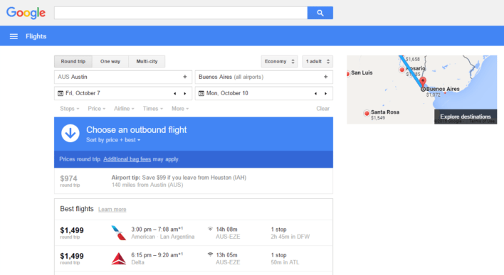 Google Flights Flight Results Screen