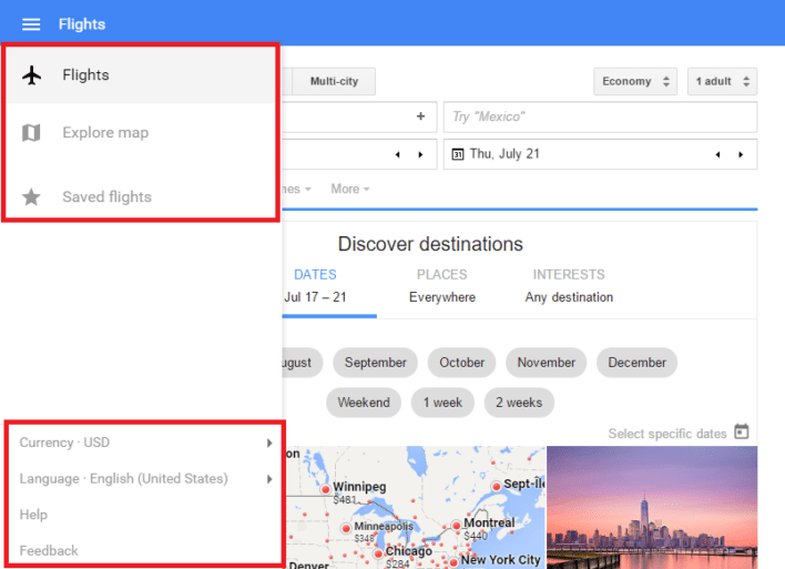 Google Flights Home Screen Additional Options