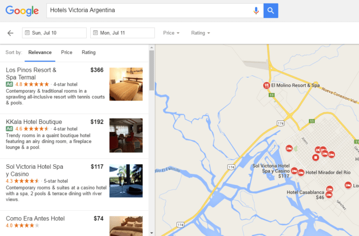 Google Flights Hotels Results Screen