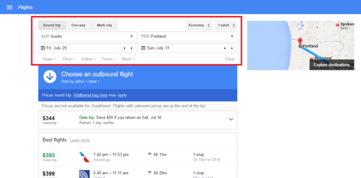 Google Flights Main Search Tool