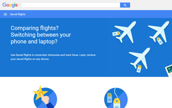Google Flights Saved Flights Main Screen