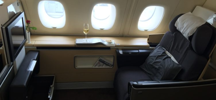 Use your KrisFlyer Miles to book a seat on Lufthansa's luxurious A380 in First Class.