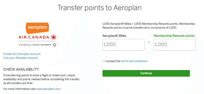 Transfer points to Aeroplan american express
