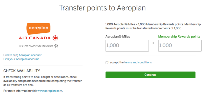 Amex Points Air Travel Value