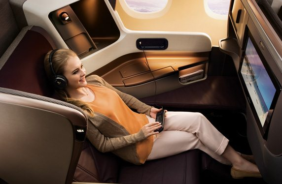 Business cass on Singapore Airlines is so nice, you'll think you're in first class. Image courtesy of singaporeair.com