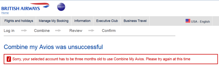 British Airways Combine My Points Unsuccessful