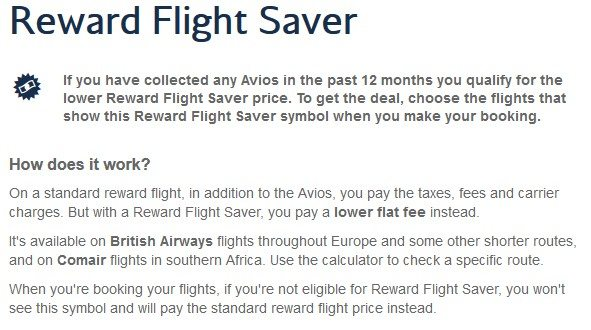 British Airways Reward Flight Saver