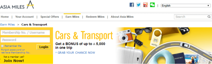 Cathay Pacific Asia Miles Car Rental Partners