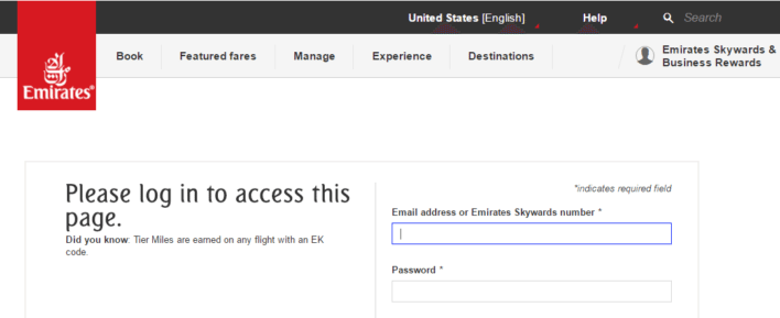 Emirates Skywards account