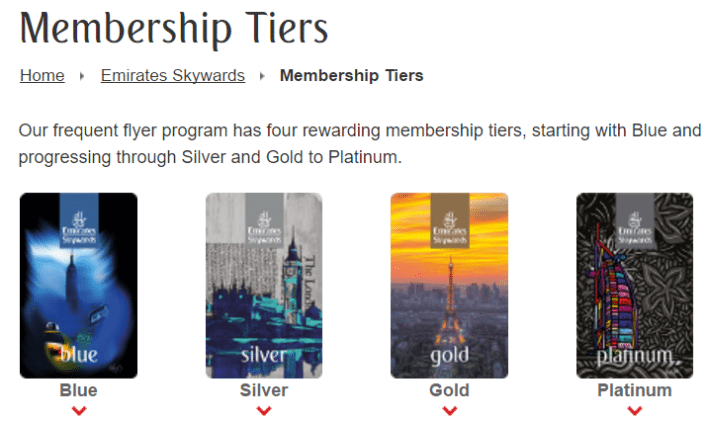 Emirates Skywards membership tiers