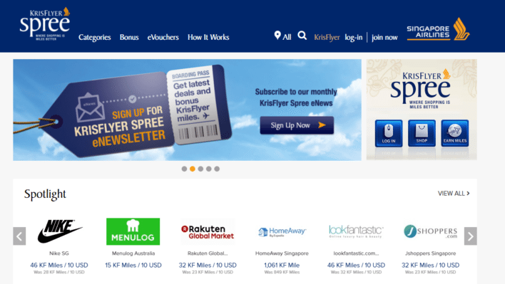 Singapore Airlines Krisflyer Spree