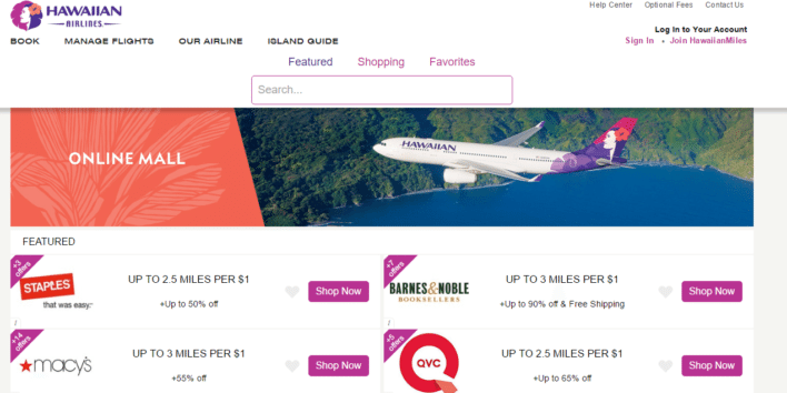 hawaiian airlines online mall
