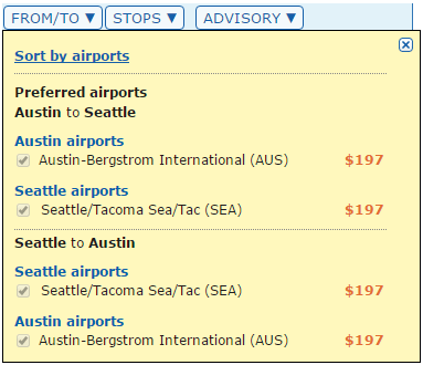 matrix ita filtering airports