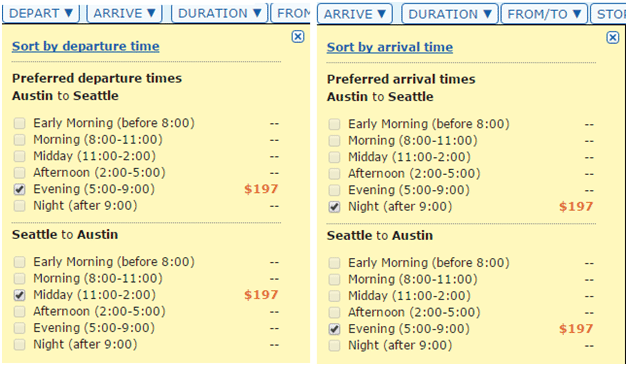 matrix ita filtering departure arrival
