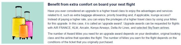 Flying Blue Upgrade Awards