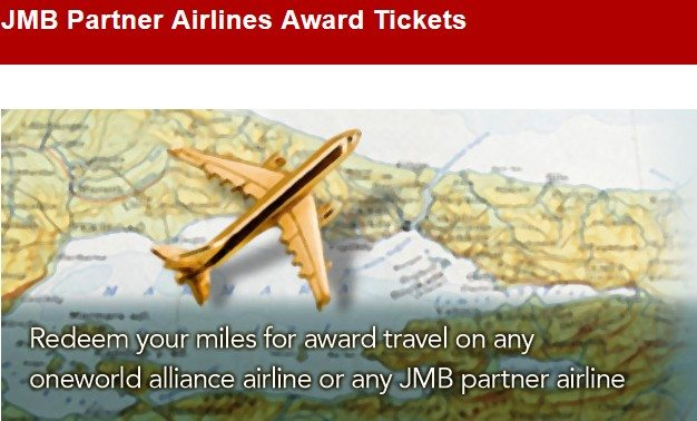 JMB Partner Airlines Award Tickets