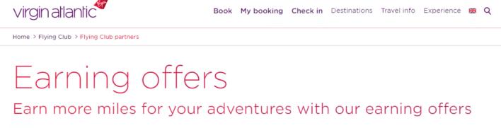 Virgin Atlantic Flying Club Earning Offers