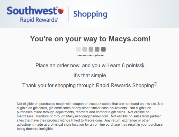 rapid rewards shopping
