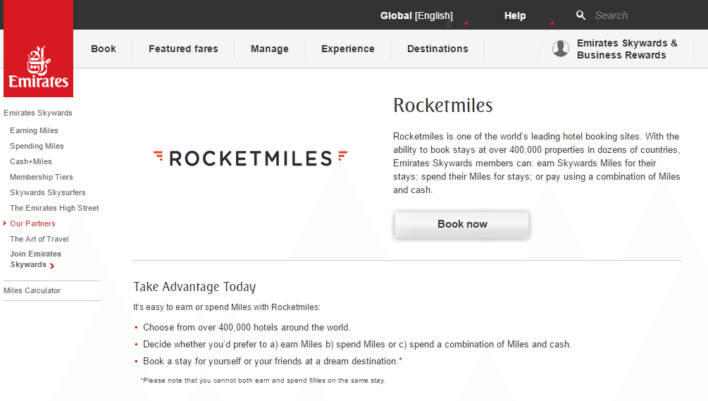 earn and redeem Skywards frequent flyer miles using Rocketmiles.com