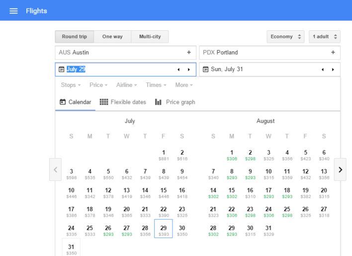 google flight search 2