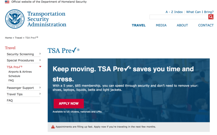 TSA PreCheck Application Homepage