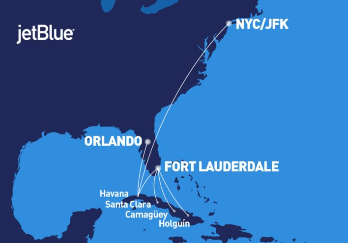 JetBlue Cuba Route Map