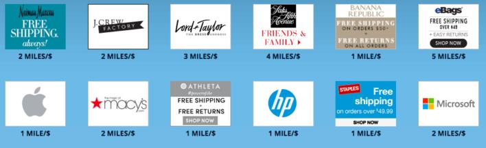 delta skymiles shopping example retailers 2