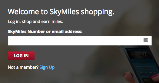 delta skymiles shopping login 2