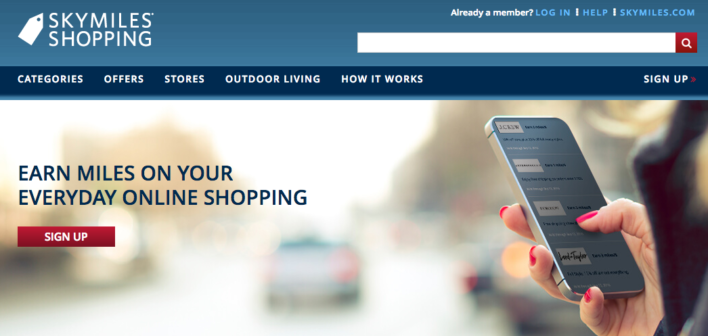 delta skymiles shopping login