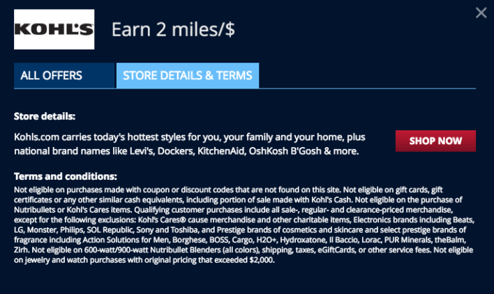delta skymiles shopping sample retailer