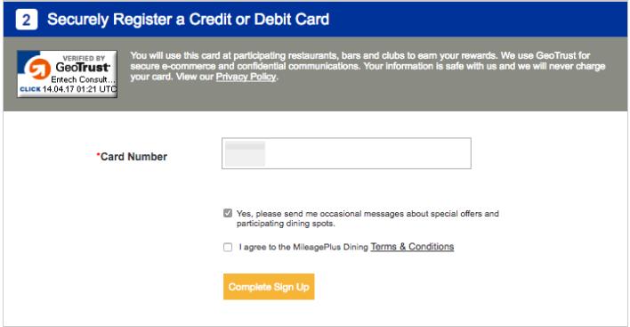 united dining register credit card
