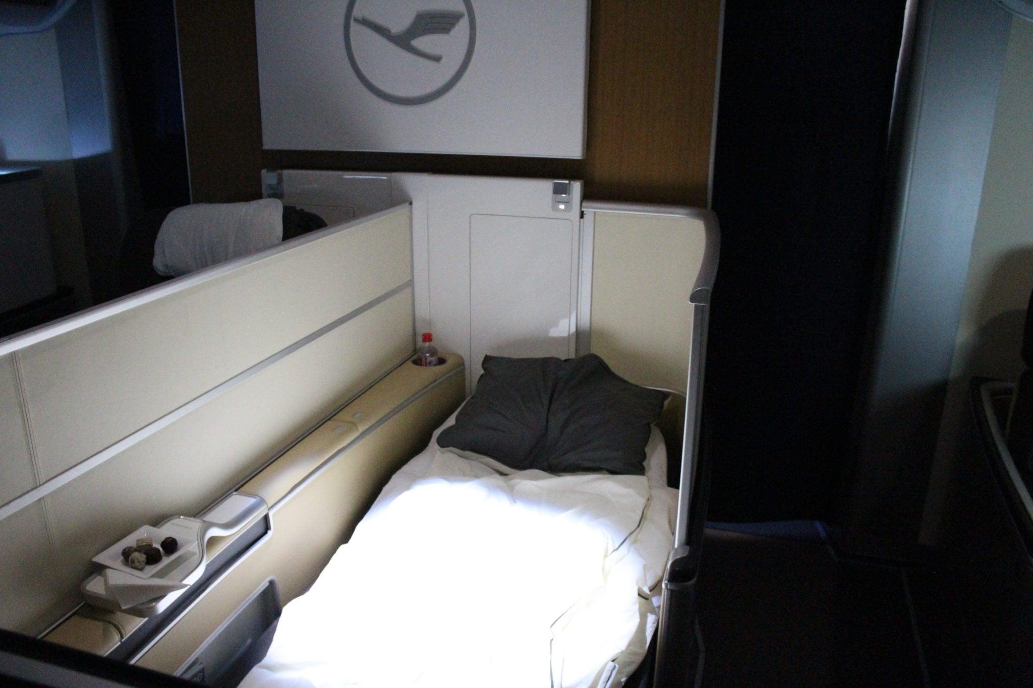 Lufthansa First Class, lie flat seat